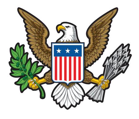 Vectorillustratie van het Amerikaanse Gewaagde Nationale Symbool van de Adelaar. Het ontwerp heeft twee lagen schaduw om de afbeelding meer diepte te geven.