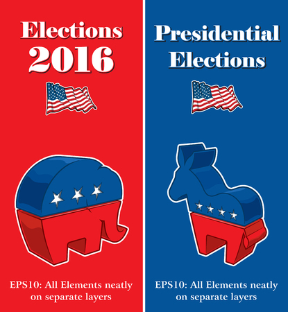 compiled: Vector banner mock ups about the American Presidential Elections compiled by the Republican and Democratic party symbols Illustrated as 3 dimensional objects.
