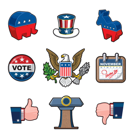 uncle sam hat: American Elections vector icon set. It includes the party symbols, Uncle Sam hat, the Bald Eagle seal, a calendar noting the Elections Day, Like & Dislike symbols and the Presidential Podium Illustration