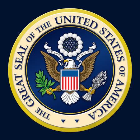 diseño vectorial muy detallada de un monocromática en relieve, gran sello oficial de oro de los Estados Unidos. 25 Mpxl, vista previa JPEG Q12.