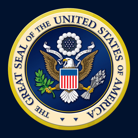 unum: Highly detailed vector design of a monochromatic embossed, gold official Great Seal of the United States. 25 Mpxl, Q12 JPEG preview.