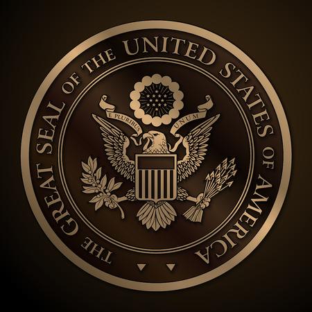 Bardzo szczegółowe wektora projektowania monochromatycznej tłoczone, złoto oficjalnej Wielka Pieczęć Stanów Zjednoczonych. 25 Mpxl, Q12 JPEG podglądu.