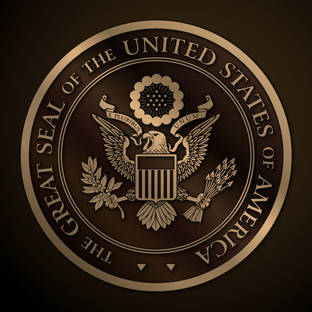 state: Highly detailed vector design of a monochromatic embossed, gold official Great Seal of the United States. 25 Mpxl, Q12 JPEG preview.