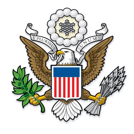 Disegno vettoriale altamente dettagliata di una monocromatica in rilievo, oro Gran Sigillo ufficiale degli Stati Uniti. EPS 10 con un'anteprima di 25 Mpxl, Q12 JPEG. Archivio Fotografico - 64026121