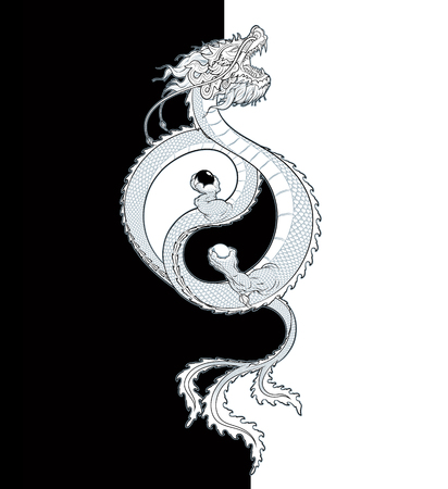 Vector Illustration of a flying Oriental Dragon holding two spheres, shaping the Yin-Yang symbol. All elements neatly on layers and groups.