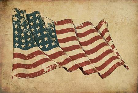 Achtergrond die een oud papier aflegt, getextureerde achtergrond met een gekraste afbeelding van de Amerikaanse WWI-WOII (48 sterren) vlag