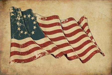 Wallpaper mit einem Alter von Papier, strukturierten Hintergrund mit einem zerkratzten Darstellung der amerikanischen Flagge Betsy Ross Standard-Bild - 68478562