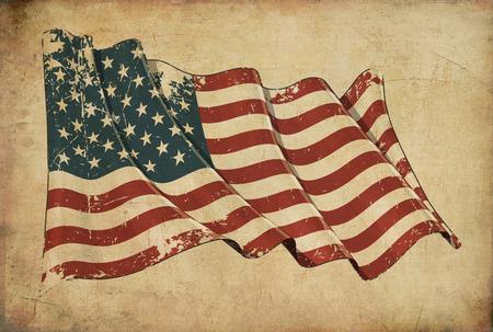 Wallpaper beeltenis van een oud papier, geweven achtergrond met een bekraste illustratie van de Amerikaanse vlag Stockfoto