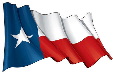 Vector Illustration of a waving Texan flag. All elements neatly on layers & groups for easy editing and variations. Vettoriali