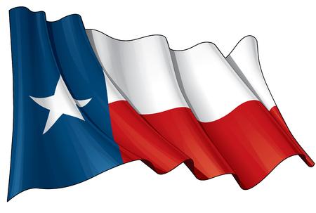 Vector Illustration d'un drapeau texan agitant. Tous les éléments d'une manière ordonnée sur des calques et des groupes d'édition et de variations facile. Vecteurs