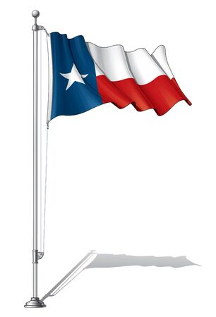 Vector Illustration of a waving Texas flag fasten on a flag pole. Flag and pole in separate layers, line art, shading and color neatly in groups for easy editing.