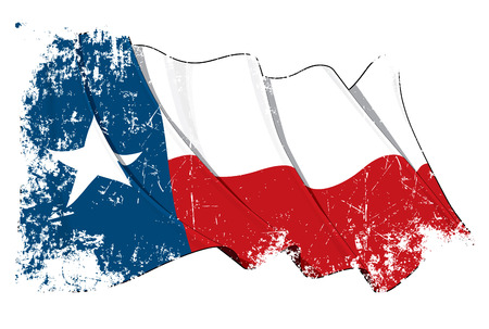 texan: Vector Illustration of a waving Texan flag under a grunge texture. All elements neatly on layers & groups for easy editing and variations.