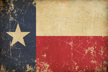 Grunge Illustration of a rusty, scratched, sepia, aged Texan flag.