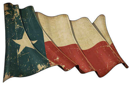 Illustration of a Waving, scratched aged Texan flag Imagens