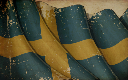 other keywords: Illustration of an Old, Scratched, Rusty Flag of Sweden printed on old paper Stock Photo