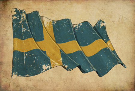 other keywords: Wallpaper depicting an aged paper, textured background with a scratched illustration of the flag of Sweden