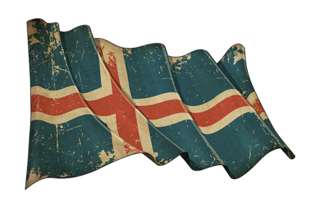 aged: Illustration of a Waving, scratched aged flag of Iceland