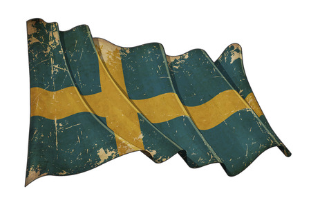 Illustration of a Waving, scratched aged flag of Sweden