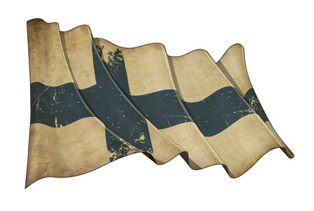 Illustration of a Waving, scratched aged flag of Finland