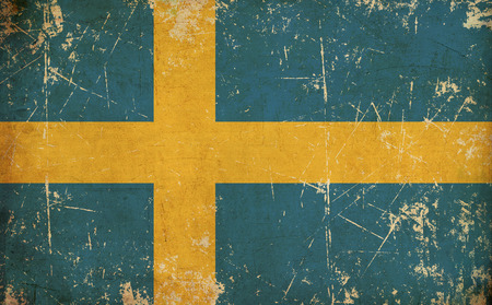 other keywords: Grunge Background, Illustration of a rusty, scratched, sepia, aged Swedish flag. Stock Photo