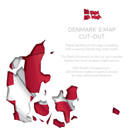 Illustration of a cut-out Map of Denmark with a waving Danish flag underneath. EPS-10 with transparencies. All elements neatly on layers and groups for easy editing and variations.