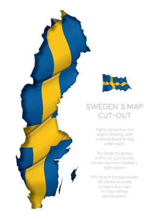 Illustration of a cut-out Map of Sweden with a waving Swedish flag underneath. EPS-10 with transparencies. All elements neatly on layers and groups for easy editing and variations.