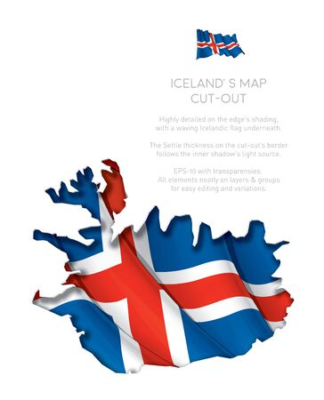 underneath: Illustration of a cut-out Map of Iceland with a waving Icelandic flag underneath. EPS-10 with transparencies. All elements neatly on layers and groups for easy editing and variations.