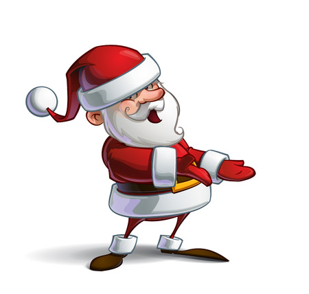 inviting: Cartoon vector illustration of a smiling Santa Claus presenting while looking at you having an inviting expression. Lines, Shadow, Lights, Color & Drop Shadow on separate groups for easy editing.