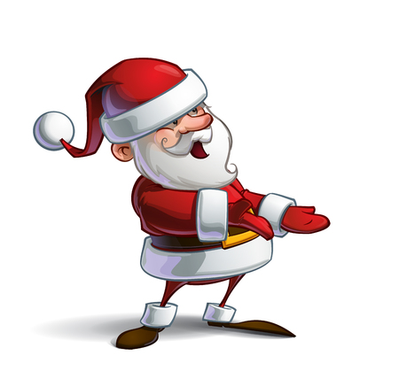 inviting: Cartoon vector illustration of a smiling Santa Claus presenting,  having an inviting expression. Lines, Shadow, Lights, Color & Drop Shadow on separate groups for easy editing.