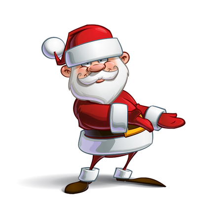 Cartoon vector illustration of a smiling Santa Claus presenting while looking at you having an inviting expression. Lines, Shadow, Lights, Color & Drop Shadow on separate groups for easy editing.