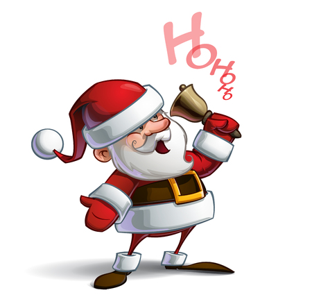 Cartoon vector illustration of a smiling Santa Claus ringing a bell and calling Ho Ho Ho. Lines, Shadow, Lights, Color & Drop Shadow on separate groups for easy editing.