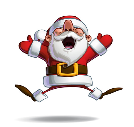 ecstasy: Vector Cartoon illustration of a happy Santa Claus in ecstasy jumping in the air with open arms. Line art, Shadow, Light, Color & Drop Shadow neatly on well-defined layers and groups for easy editing Illustration