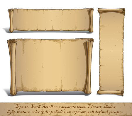 Set of three vector Cartoon illustrations of aged blank scrolls. Each Scroll on a separate layer, Lines, Shadow, Lights, Color & Drop Shadow on separate groups for easy editing.