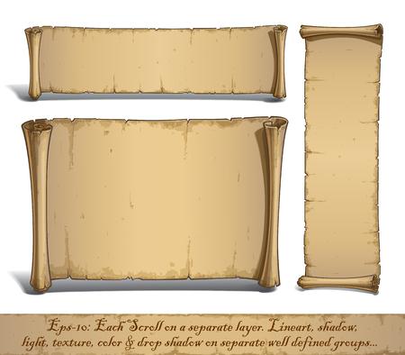 Ensemble de trois dessins vectoriels illustrés de rouleaux blancs vieillis. Chaque défilement sur une couche distincte, Lines, Shadow, Lights, Color & Drop Shadow sur des groupes distincts pour faciliter l'édition. Vecteurs