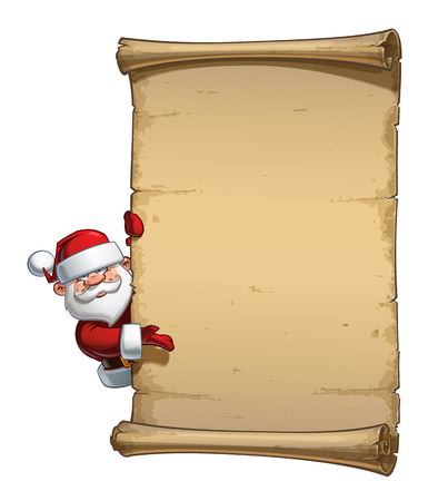 glee: Vector Cartoon illustration of a happy smiling Santa Claus Celebrating Christmas and presenting behind an aged blank scroll. All elements neatly on well-defined Layers and groups