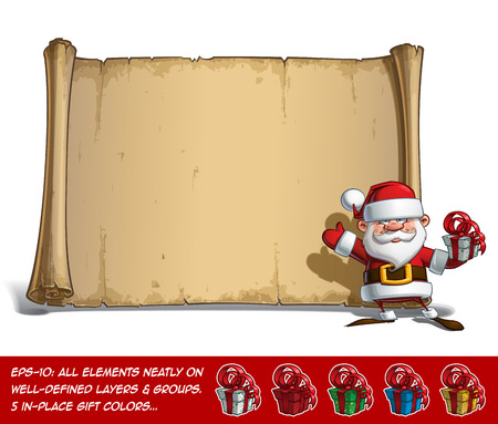 cartoon present: Vector Cartoon illustration of a happy smiling Santa Claus Celebrating Christmas and waving in front of a blank aged scroll with a present at his hand. All elements neatly on well-defined Layers and groups