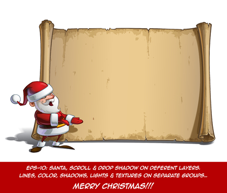 inviting: Vector Cartoon illustration of a happy smiling Santa Claus Celebrating Christmas presenting in front of a blank aged scroll. All elements neatly on well-defined Layers and groups