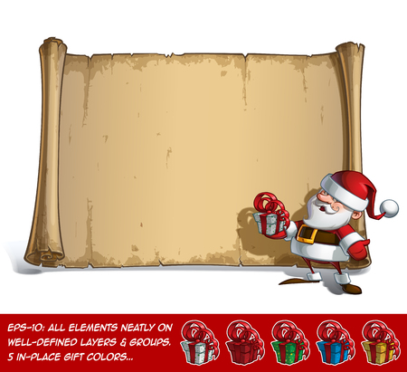 inviting: Vector Cartoon illustration of a inviting, smiling Santa Claus Celebrating Christmas, holding a gift in front of a blank aged scroll. All elements neatly on well-defined Layers and groups