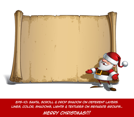 inviting: Vector Cartoon illustration of a happy smiling Santa Claus Celebrating Christmas and Inviting with Open Hands in front of a blank aged scroll. All elements neatly on well-defined Layers and groups Illustration