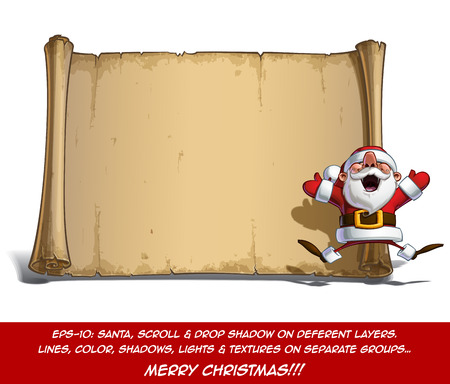 glee: Vector Cartoon illustration of an enthusiastic Santa Claus Celebrating Christmas with a jump in front of a blank aged scroll. All elements neatly on well-defined Layers and groups