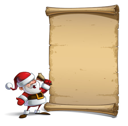 glee: Vector Cartoon illustration of a happy smiling Santa Claus sounding the Christmas bell in front of a blank aged scroll. All elements neatly on well-defined Layers and groups Illustration