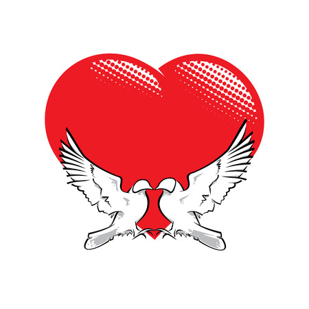 shaping: Vector Illustration of two pigeons in love shaping a heart.