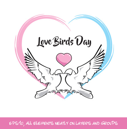 Love Birds Day Pink & Blue Heart. Vector Illustration of two pigeons in love shaping a heart a blue and pink heart.  All elements on neatly on well-defined layers and groups Illustration