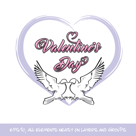 Love Birds Valentine Day Purple Heart. Vector Illustration of two pigeons in love shaping a heart a blue and pink heart and a hand-made Valentaines Day lettering. All elements on neatly on well-defined layers and groups