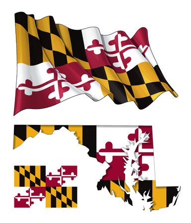 Vectorillustraties van Maryland% u2019s vlag, zwaaien en plat, en kaart met de vlag ingevoegd en innerlijke schaduw. Alle elementen netjes op goed beschreven lagen. Vector Illustratie
