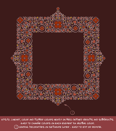 Flower Decorative Ornamental square frame. EPS-10 all elements neatly on well-defined layers and groups. Easy to edit colors via Global Color. Illustration