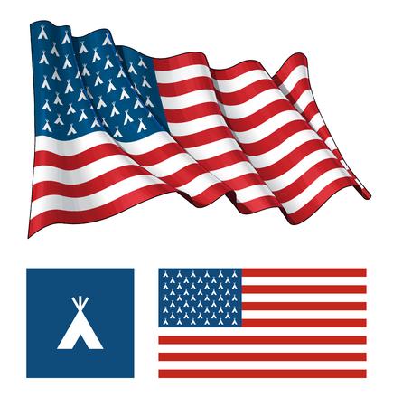 벡터 일러스트 레이 션 흔들며 평면, 별 대신 인도 Teepee 아이콘을 갖는 미국 국기. 잘 묘사 된 레이어에 모든 요소가 깔끔하게 정리되어 있습니다. 일러스트