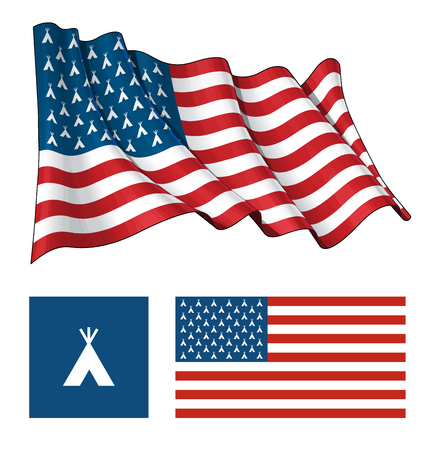 flag: Vector illustrations of the American flag, both waving and flat, having Indian Teepee icons instead of stars. All elements neatly on well described layers.