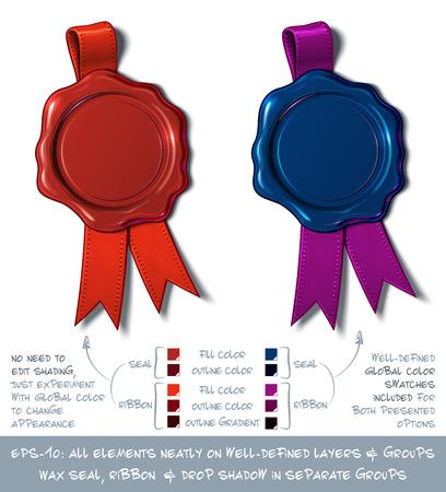 Ilustración vectorial de un sello de cera en blanco con la cinta. Todos los elementos cuidadosamente en capas y grupos bien definidos. Fácil de cambiar colores a través de Global Color.