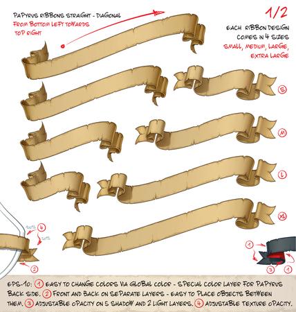 Vektor-Illustration der alten Papyrus oder Pergament Bänder. Satz von zwei Entwürfen in vier Größen jeder. Ordentlich geschichtet und beschriftet, um viele Variationen und einfache Bearbeitung zu ermöglichen Standard-Bild - 77018691